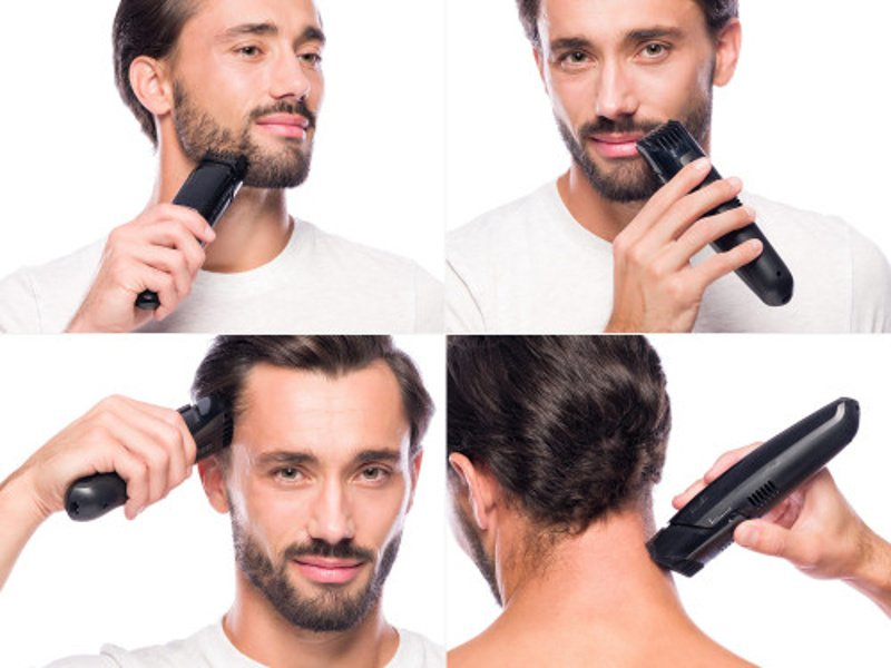 Muž si sám stříhá vlasy