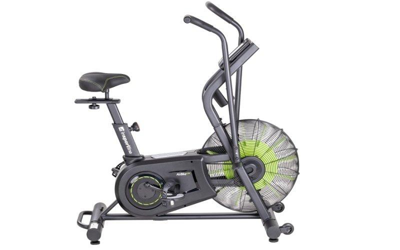 Šedý Air bike se zeleným ventilátorem