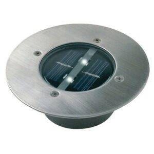 LED Solární reflektor se senzorem LED/0,12W/2xAAA IP67 nerez kruh