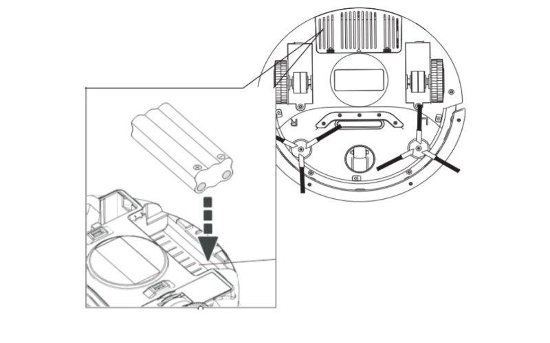 Obrázek výměny baterie robotického vysavače