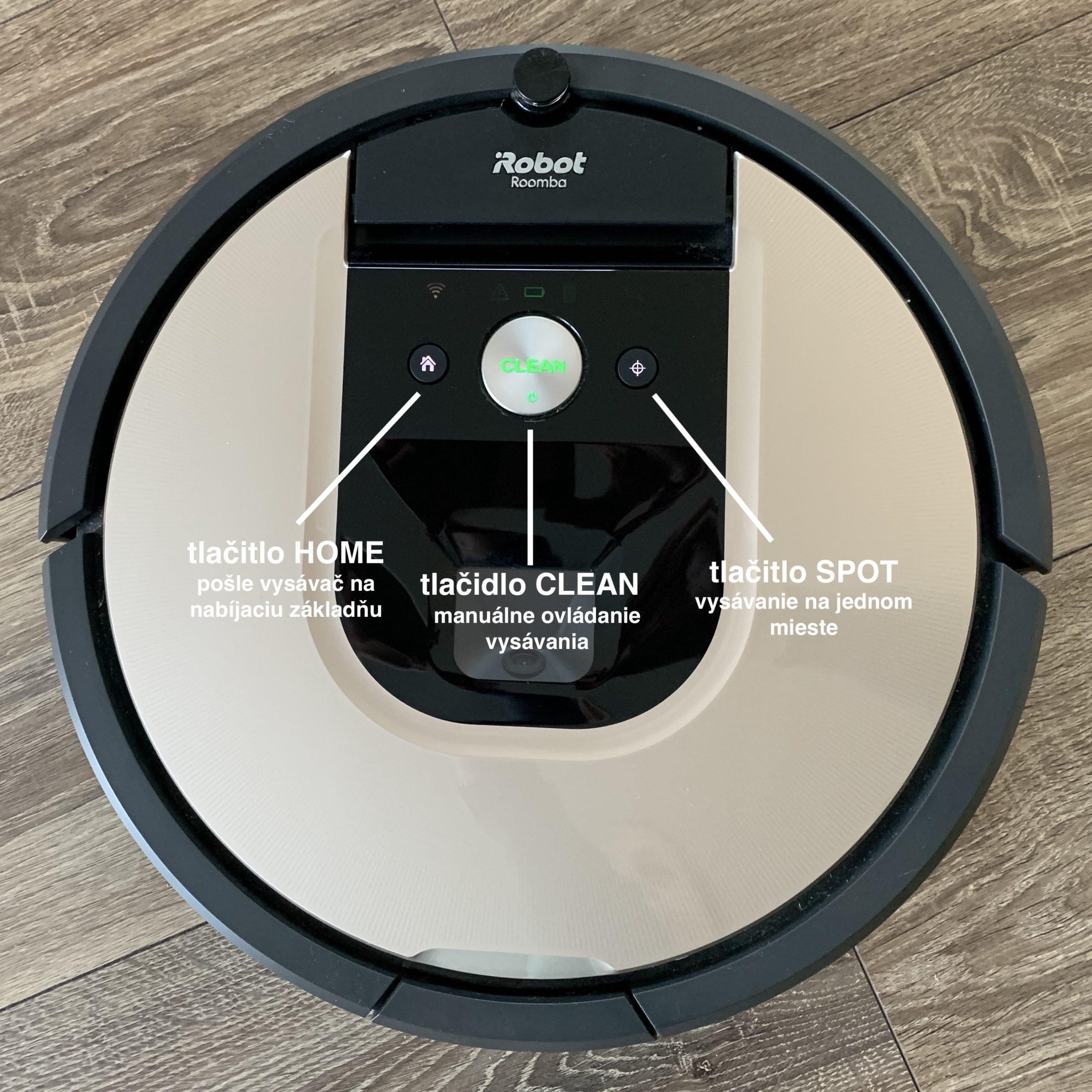 Ovládací tlačítka vysavače iRobot Roomba 976