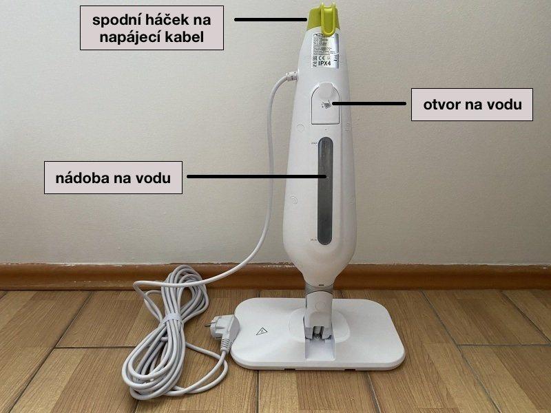 Popis zadnej strany parného čističa