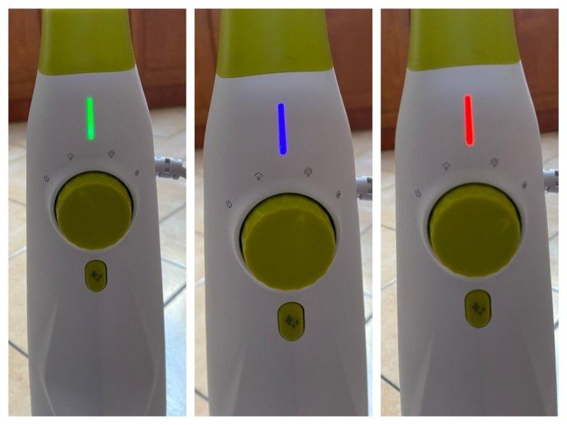 Zelená, modrá a červená kontrolka na parním čističi